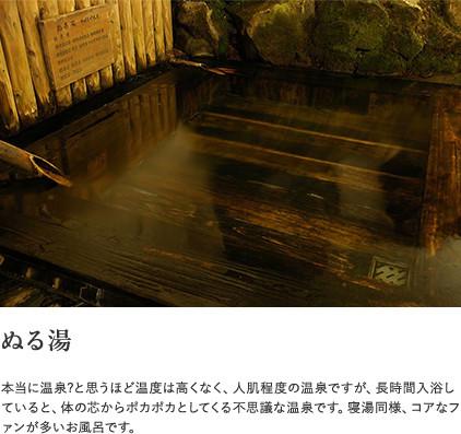 【ぬる湯】本当に温泉?と思うほど温度は高くなく、人肌程度の温泉ですが、長時間入浴していると、体の芯からポカポカとしてくる不思議な温泉です。寝湯同様、コアなファンが多いお風呂です。